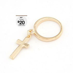 Jewelry - Dangle Cross Ring- Gold Or Silver